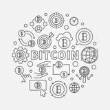Bitcoin round illustration. Vector circular bitcoin currency. Bitcoin round illustration. Vector circular bitcoin currency concept symbol in thin line style Stock Photography