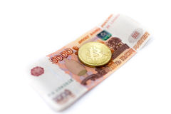 Bitcoin with rubles Royalty Free Stock Photo