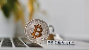 Bitcoin säkerhetsbegrepp Royaltyfria Foton