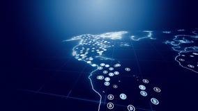 Bitcoin s'élevant rapidement sur la carte du monde illustration stock