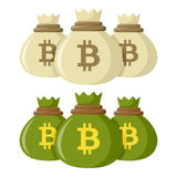 Bitcoin Sacks of Money Flat Icon on White Royalty Free Stock Images