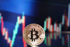 Bitcoin samlar det envisa diagrammet Arkivbilder