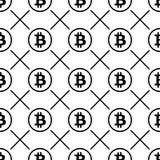 Bitcoin-Schwarzes auf nahtlosem Muster des weißen Hintergrundes Stockfotografie
