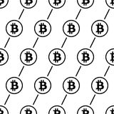Bitcoin-Schwarzes auf nahtlosem Muster des weißen Hintergrundes Lizenzfreie Stockfotografie