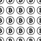 Bitcoin-Schwarzes auf nahtlosem Muster des weißen Hintergrundes Stockfoto