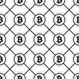 Bitcoin-Schwarzes auf nahtlosem Muster des weißen Hintergrundes Stockbild