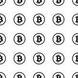 Bitcoin-Schwarzes auf nahtlosem Muster des weißen Hintergrundes Lizenzfreie Stockfotos