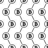Bitcoin-Schwarzes auf nahtlosem Muster des weißen Hintergrundes Stockfotos
