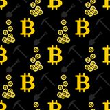 Bitcoin seamless pattern. Cryptocurrency Royalty Free Stock Photography