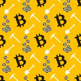 Bitcoin seamless pattern. Cryptocurrency Royalty Free Stock Images