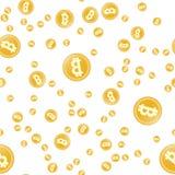 BItcoin seamless pattern. Simple Seamless Pattern Gold Symbols of Bitcoins. Flat style. BItcoin seamless pattern. Simple Seamless Pattern Gold Symbols Of royalty free illustration