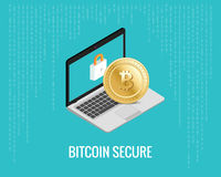Bitcoin secure illustration with laptop and lock icon on the digital blue background. Isometric view. Stock Photos