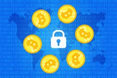 Bitcoin security background. crypto coins around lock on blue background with world map and binary code pattern. vector vector illustration