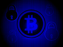 Bitcoin security, with blue background with security Icon Stock Photography