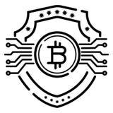Bitcoin security flat vector icon stock illustration