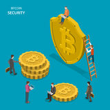 Bitcoin security isometric flat vector concept. People are walking near shield with bitcoin sign and digital coins. Safe transaction, protected transfer Royalty Free Stock Images