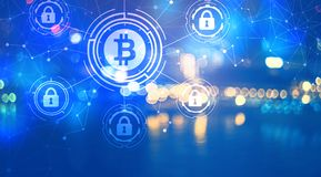 Bitcoin Security Theme with city lights at night royalty free illustration