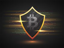 Bitcoin shield on colorful background. Bitcoin shield on colorful grey background Stock Photography