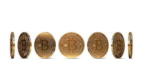 Bitcoin shown from seven angles isolated on white background. Easy to cut out and use particular coin angle. 3D rendering stock illustration