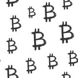 Bitcoin sign icon brush lettering seamless pattern, Grunge calligraphic symbols background, vector illustration.  Stock Image