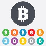 Bitcoin sign icon. Cryptography currency symbol. P2P. Round colourful 11 buttons Royalty Free Stock Image