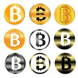 Bitcoin sign icon for internet money. Crypto currency symbol and coin image for using in web projects or mobile applications 1. Bitcoin sign icon for internet Stock Image