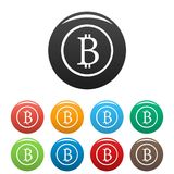 Bitcoin sign icons set vector. Bitcoin sign icons set. Vector simple set of bitcoin sign vector icons in different colors isolated on white Stock Image