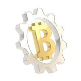 Bitcoin sign inside of a cogwheel gear isolated Royalty Free Stock Photo