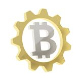 Bitcoin sign inside of a cogwheel gear isolated Royalty Free Stock Images