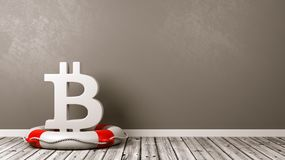 Bitcoin Sign on a Lifebuoy in the Room Royalty Free Stock Image