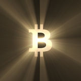 Bitcoin sign light flare Royalty Free Stock Image