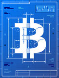 Bitcoin sign like blueprint drawing Stock Image