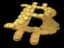 Bitcoin sign made from coins Stock Photo