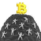 Bitcoin sign and miners. Cryptocurrency boom. Bitcoin creative concept. Investors, customers, sellers or dealers climb up a hill of mountain with golden bitcoin Stock Images