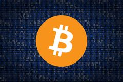 Bitcoin sign over binary background. Data protection from hacking Royalty Free Stock Images