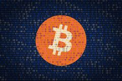 Bitcoin sign over binary background. Data protection from hacking. Cyber security Stock Photo