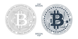 Bitcoin sign vector. New digital currency sign with detailed system showing stylized block-chain technology Stock Images