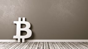 Bitcoin Sign on Wooden Floor Against Wall. White Bitcoin Symbol Shape on Wooden Floor Against Grey Wall with Copy Space 3D Illustration Royalty Free Stock Image