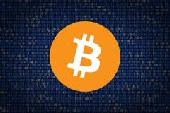 Bitcoin signent plus de le fond binaire protection des données d'entailler Images libres de droits