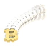 Bitcoin signs falling as a domino effect Royalty Free Stock Photo