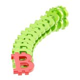 Bitcoin signs falling as a domino effect. Rise and and fall of perr-to-peer crypto currency as a bitcoin signs falling down as a domino effect, composition Royalty Free Stock Image