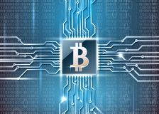 Bitcoin simbol on microchip. Cryptocurrency theme image. Vector illustration.Including microchip and bitcoin simbol on the surface with a binary code. used a Stock Photos