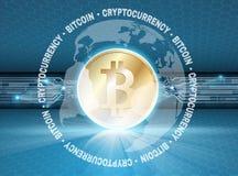 Bitcoin simbol z łuną Fotografia Stock
