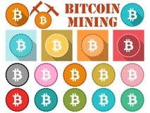 Bitcoin Simbolo di Bitcoin, moneta piana con ombra Estrazione mineraria di Bitcoin Immagine Stock