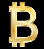 Bitcoin, simbolo dorato Immagini Stock