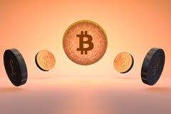 Bitcoin skina som är ljust Fotografering för Bildbyråer