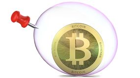Bitcoin in a soap bubble with push-pin, 3d rendering isolated on white background. Concept of investment risks in bit Royalty Free Stock Photography