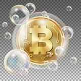 Bitcoin In Soap Bubble Vector. Investment Risk. Collapse Of Crypto Currency. Bitcoin Price Drops. Digital Money stock illustration