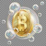 Bitcoin In Soap Bubble Vector. Investment Risk. Bitcoin Crash Digital Money. Crypto Currency Market. Realistic Isolated. Bitcoin In Soap Bubble Vector royalty free illustration