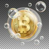 Bitcoin In Soap Bubble Vector. Investment Risk. Price Market Value Going Down. Negative Growth Exchange Trading. Digital. Bitcoin In Soap Bubble Vector Stock Image